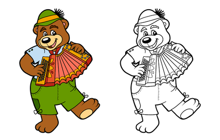 children book: Coloring book for children, education game: bear and accordion