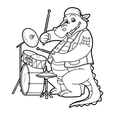 music book: Coloring book for children: music band (crocodile and drum) Illustration