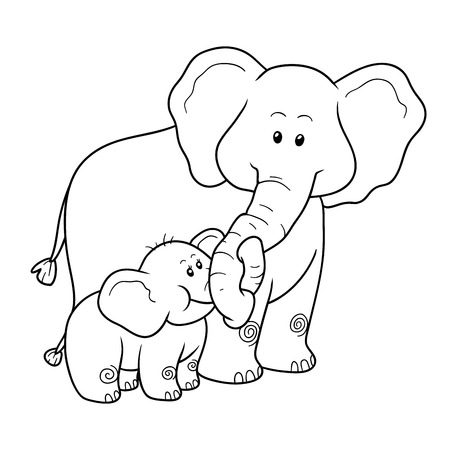 young animal: Coloring book for children, education game: elephants Illustration