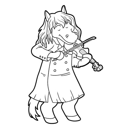 colours: Coloring book for children: music band (horse and violin) Illustration