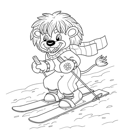 children education: Coloring book for children, education game: little lion skiing Vectores