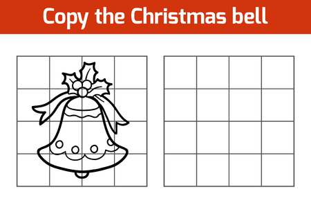 exercise book: Copy the picture, education game: Christmas bell