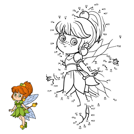 connect the dots: Numbers game for children, education game: little fairy Illustration
