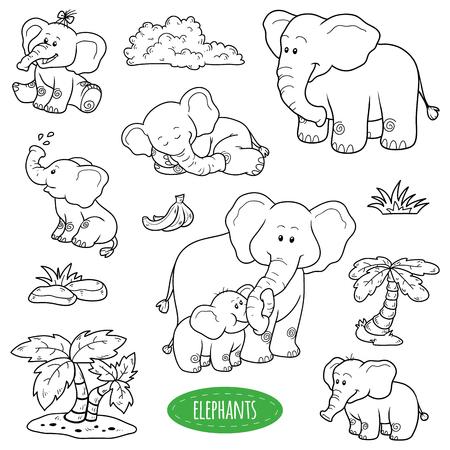 animales del bosque: Conjunto incoloro de animales y objetos lindos, familia vector de elefantes
