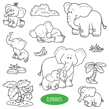 Colorless set of cute animals and objects, vector family of elephants