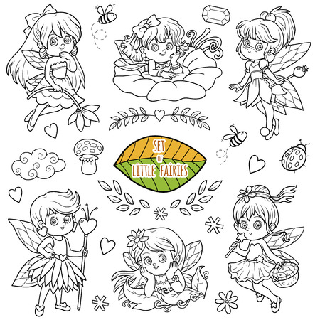 pixy: Vector colorless set about little fairies, cartoon collection Illustration