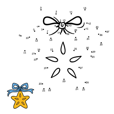 Numbers game for children, education game: Christmas star Illustration