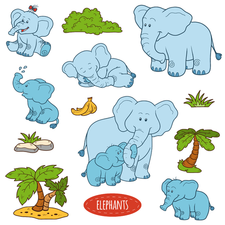 bush babies: Color set of cute animals and objects, vector stickers, family of elephants Illustration