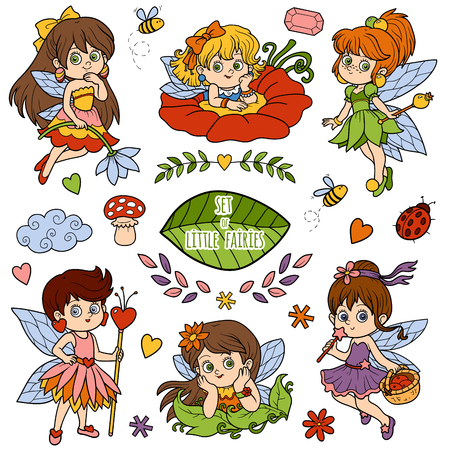 pixy: Vector color set about little fairies, cartoon collection