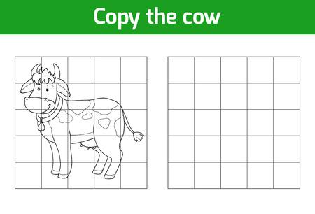 animales de granja: Copiar la imagen, juego de la educaci�n: Vaca