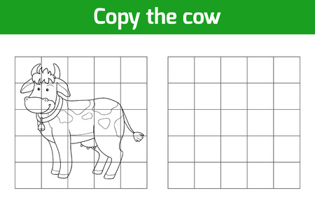animal cartoon: Copy the picture, education game: cow