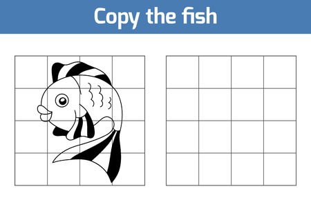 underwater fishes: Copy the picture, education game: fish