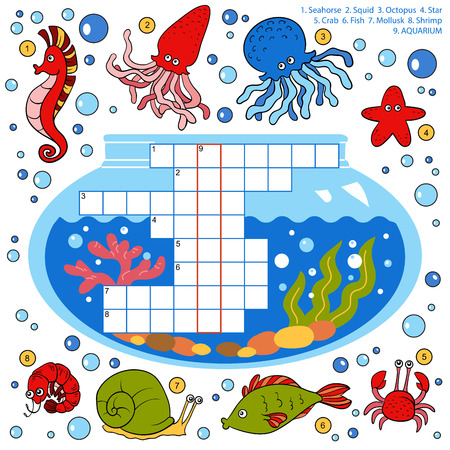 keywords bubble: Vector color crossword, education game for children about fish Illustration