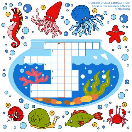 cangrejo caricatura: Vector de color crucigrama, juego de la educaci�n para los ni�os acerca de los peces