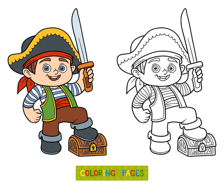 preschool children: Coloring book, education game for children (pirate boy) Illustration