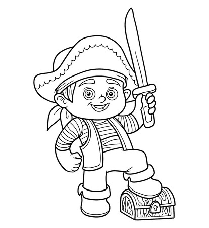 toy chest: Coloring book, education game for children (pirate boy) Illustration