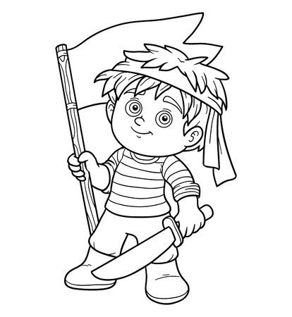black boys: Coloring book, education game for children (pirate boy) Illustration