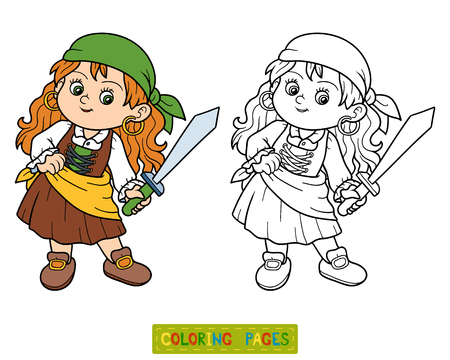 toy chest: Coloring book, education game for children (pirate girl)