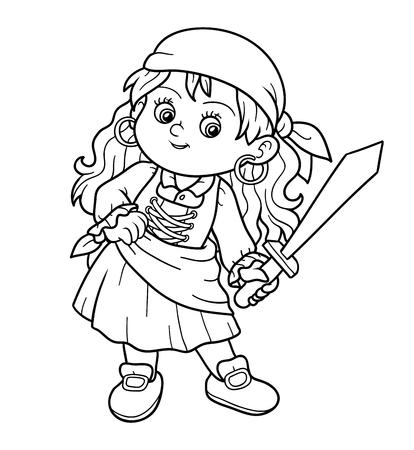 Kleurboek, onderwijs spel voor kinderen (pirate meisje) Stock Illustratie