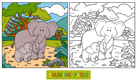 two children: Coloring book for children (two elephants and background)