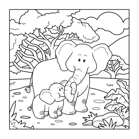 Coloring book for children (two elephants and background) Stock Vector - 49794165