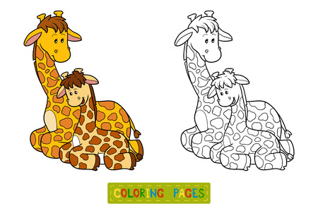 black family smiling: Coloring book for children, education game (two giraffes) Illustration