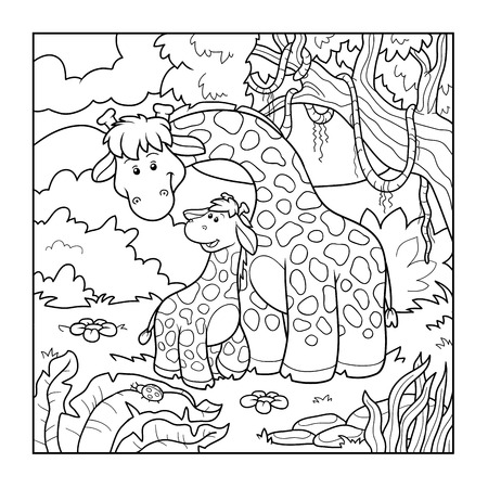bush babies: Coloring book for children, education game (two giraffes) Illustration