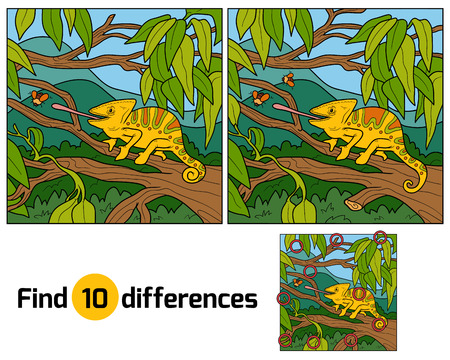dragon cartoon: Find differences, education game for children (chameleon)