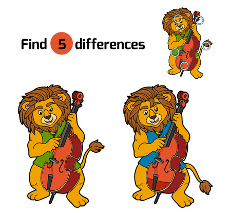 leon bebe: Find differences, education game for children (lion and cello) Vectores