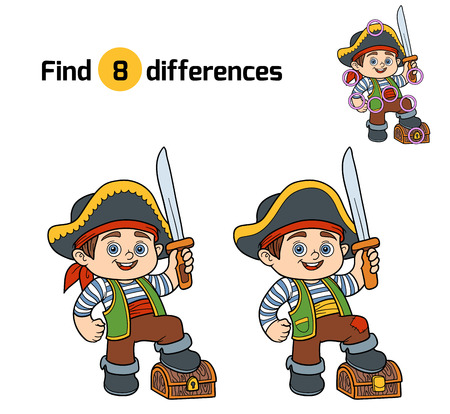 game boy: Find differences, education game for children (pirate boy)
