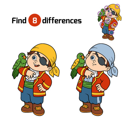 cartoon parrot: Find differences, education game for children (pirate boy and parrot)