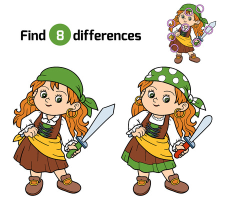 cute cartoon girl: Find differences, education game for children (pirate girl)