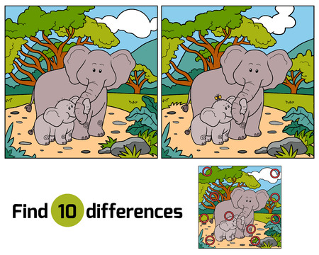problemas familiares: Find differences, education game for children (two elephants)