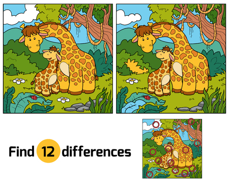 cartoon kid: Find differences, game for children (two giraffes and background)