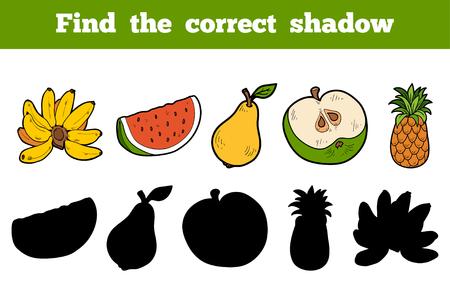 platano caricatura: Encuentra la sombra correcta, juego educativo para ni�os (frutas) Vectores