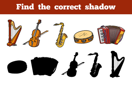 shadow match: Find the correct shadow, education game for children (musical instruments)