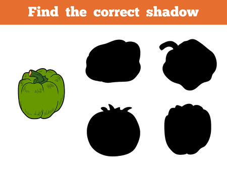 brain game: Find the correct shadow, education game for children (green pepper)