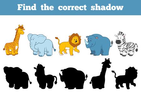 lijntekening: Zoek de juiste schaduw, onderwijs spel voor kinderen (safari dieren) Stock Illustratie