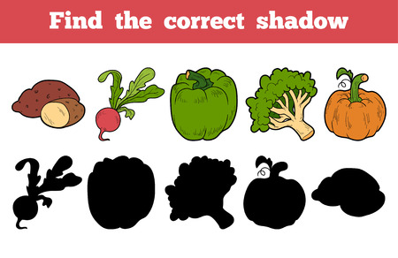 children book: Find the correct shadow, education game for children (vegetables)