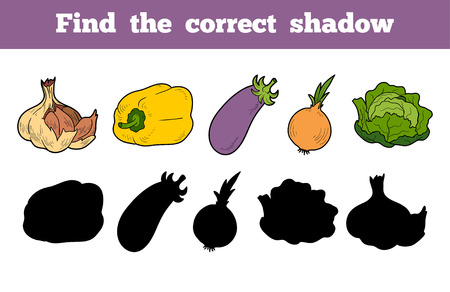 brain game: Find the correct shadow, education game for children (vegetables)