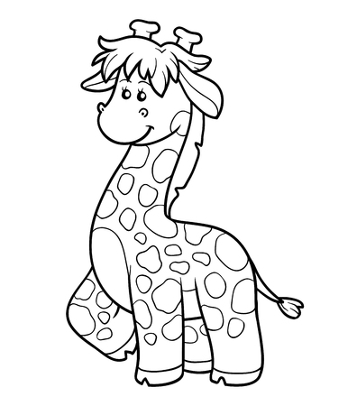safari animal: Coloring book, education game for children (giraffe)