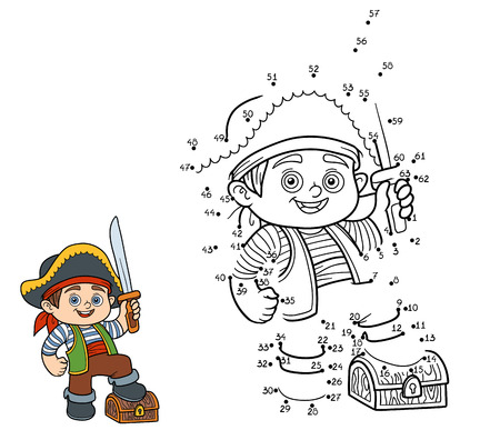Numbers game, education game for children (pirate boy)