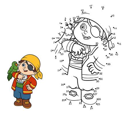 loro: Números juego, juego de la educación para los niños (muchacho del pirata y loro) Vectores