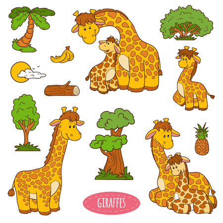 bush babies: Color set of cute animals and objects, vector stickers of giraffes Illustration