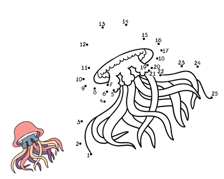 summer cartoon: Numbers game, education game for children (jellyfish)