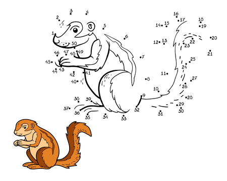 chipmunk: Numbers game, education game for children (ground squirrel, xerus)