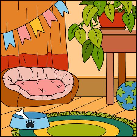 perros jugando: de fondo vector, color, sala de estar para el perro