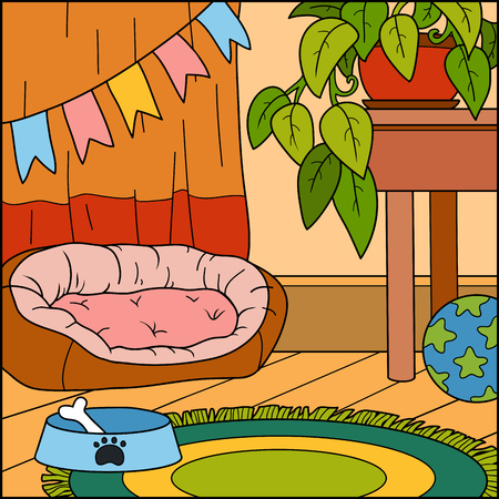Playing Room Vector Background Color Illustration Living For Dog