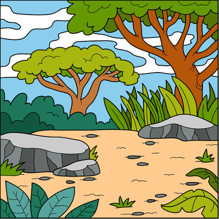 forest trees: Vector illustration, color natural background (savanna)