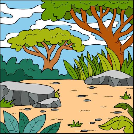 cartoon trees: Vector illustration, color natural background (savanna)